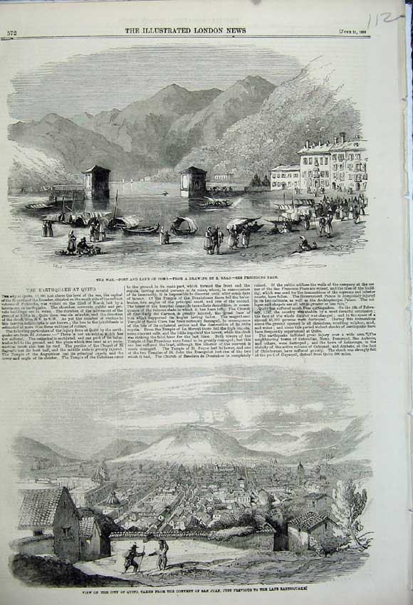 Print 1859 War Port Lake Como City Quito Convent San Juan 112N107 Old Original