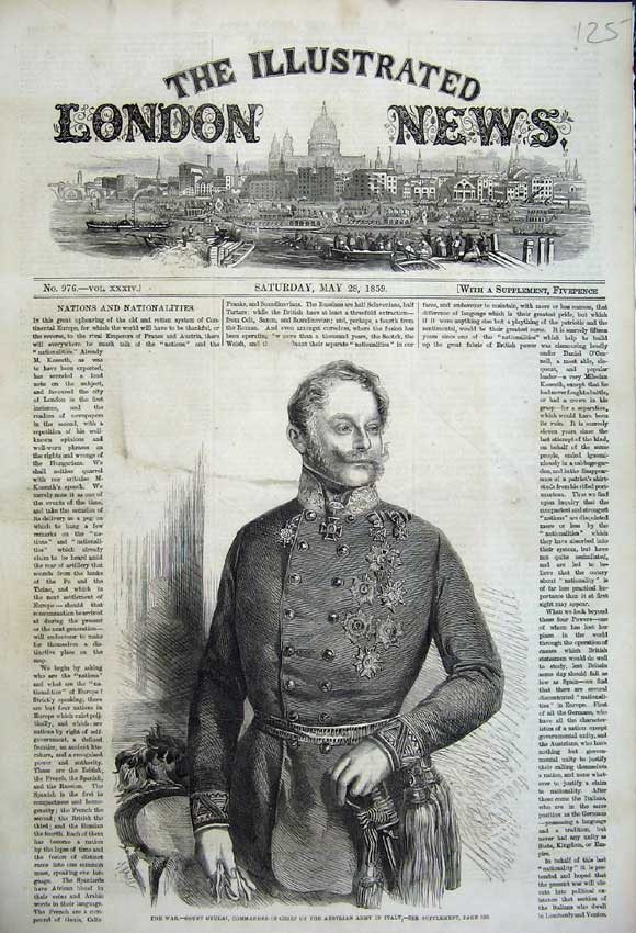 Print 1859 Portrait Count Gyulai Commander Austrian Italy 125N107 Old Original