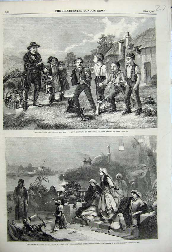 Print Feast Roses Tidey 1859 Children Playing Sport Hemsley 127N107 Old Original