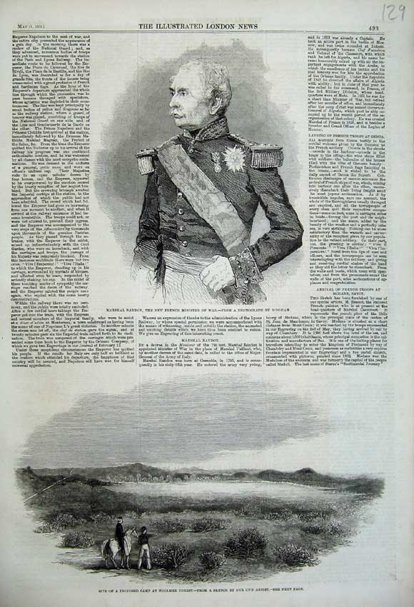 Print 1859 Marshal Randon French Minister War Woomler Forest 129N107 Old Original