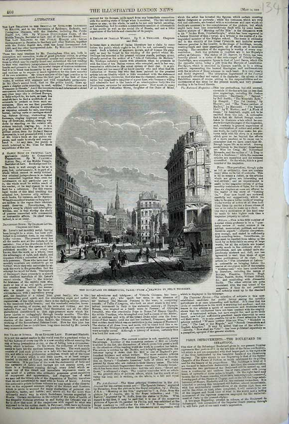 Print 1859 Boulevard De Sebastopol Paris France Thorigny 134N107 Old Original