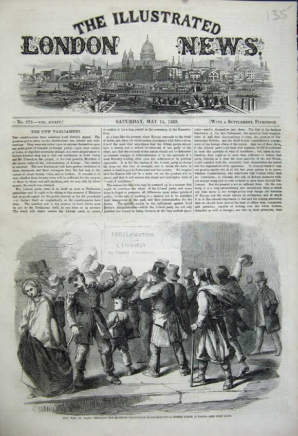 Print 1859 War Italy Reading Napoleon Proclamation Paris 135N107 Old Original