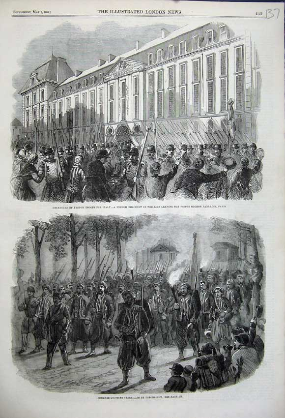 Print 1859 French Troops Prince Eugene Barracks Zouaves Paris 137N107 Old Original