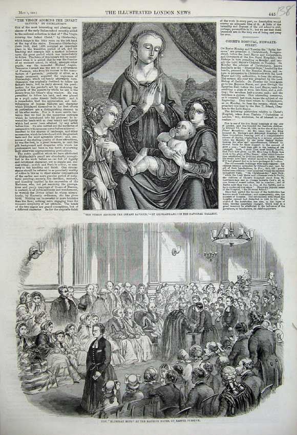 Print 1859 Bluecoat Boys Mansion House Virgin Adoring Infant 138N107 Old Original