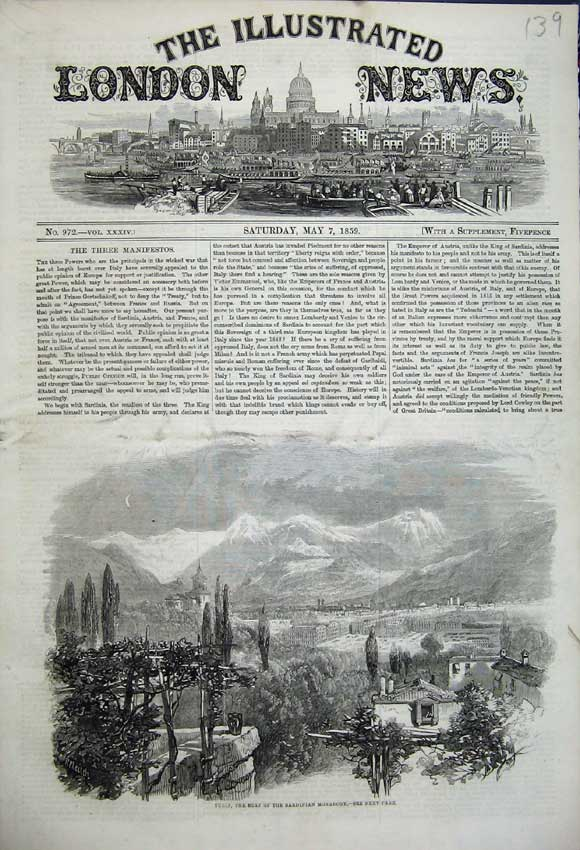 Print Turin Home Sardinian Monarchy 1859 Mountains Town Scene 139N107 Old Original