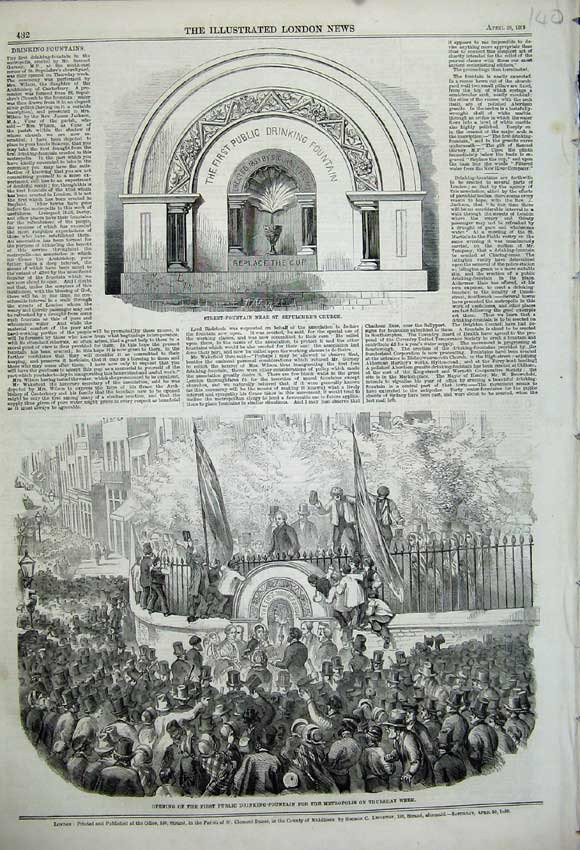 Print Public Drinking Street Fountain Sepulchre'S Church 1859 140N107 Old Original