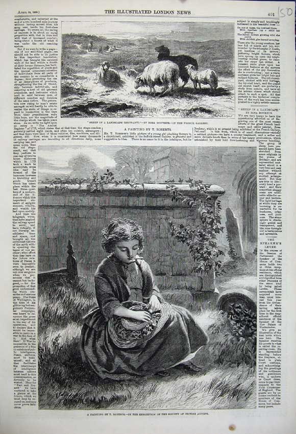 Print 1859 Sheep Brittany France Rosa Bonheur Girl Graveyard 150N107 Old Original