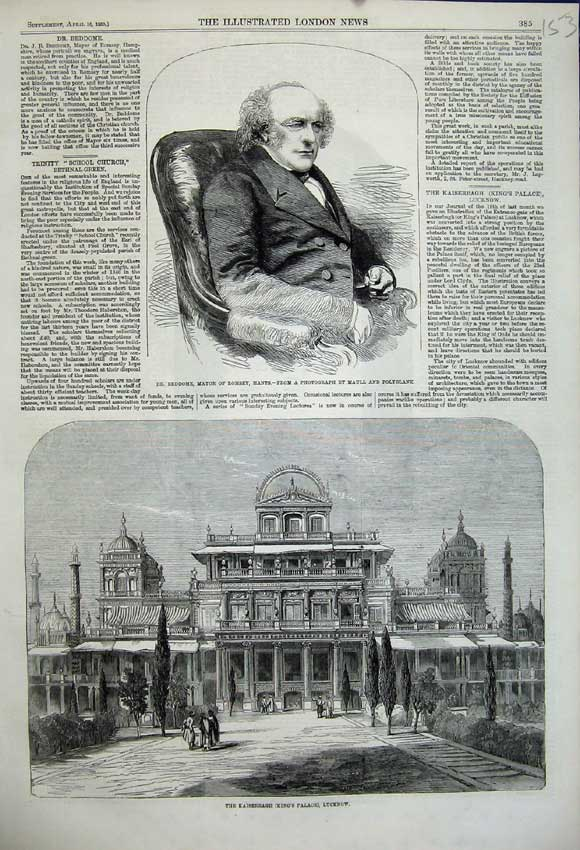 Print 1859 Beddome Mayor Romsey Kaiserbagh Palace Lucknow 153N107 Old Original
