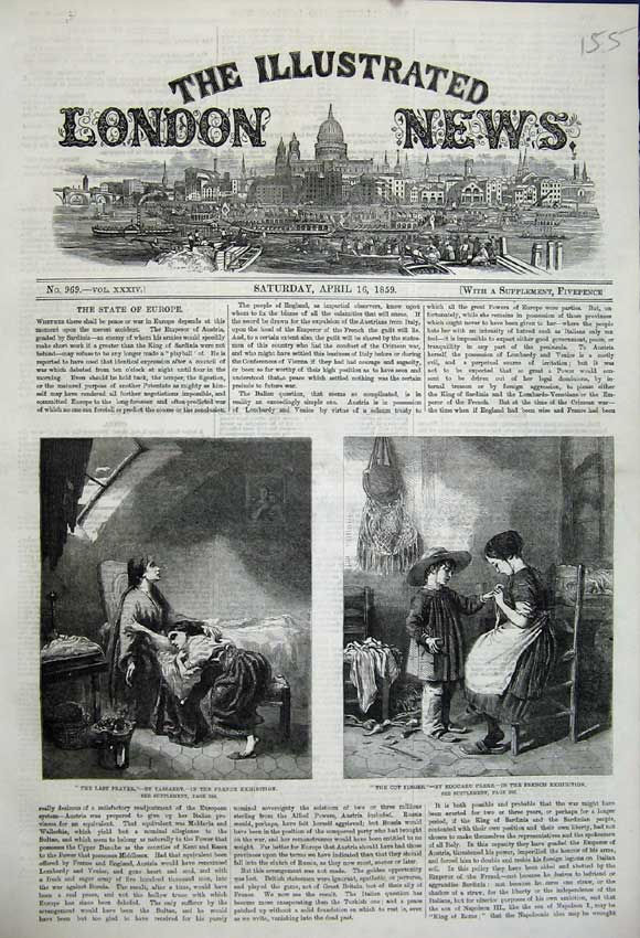 Print 1859 Last Prayer Cut Finger French Exhibition Painting 155N107 Old Original