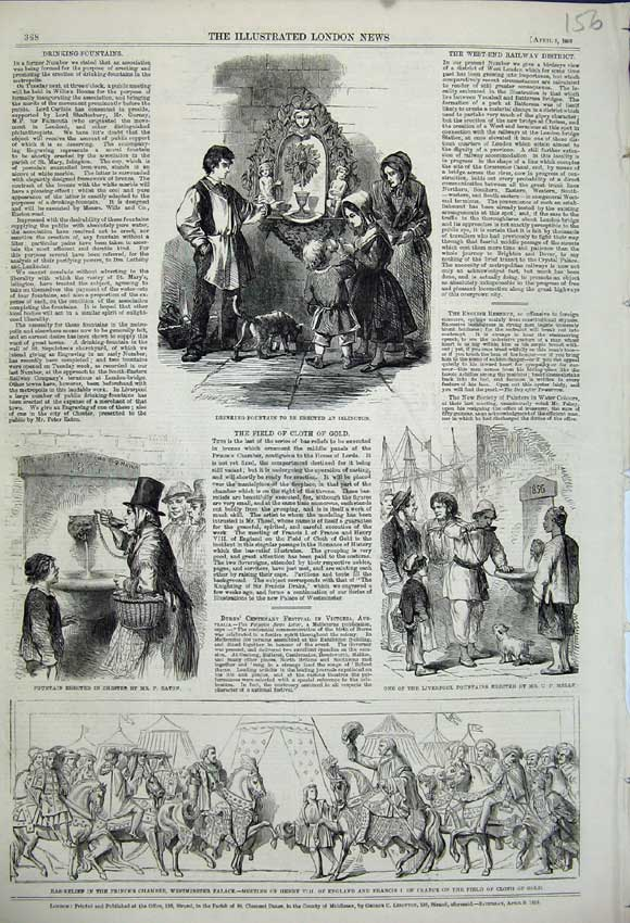 Print 1859 Westminster Palace Liverpool Fountain Chester 156N107 Old Original