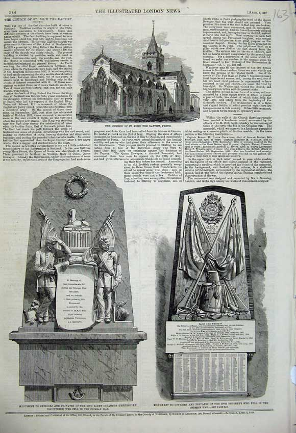 Print 1859 Church John Baptist Perth Monument Crimean War 163N107 Old Original