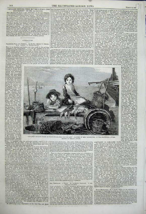 Print 1859 Children Minding Mothers Stall Fish Market Artists 171N107 Old Original