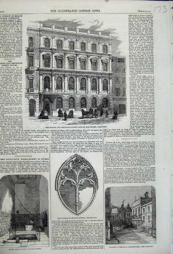 Print 1859 Mutual Life Offices Cheapside Window Church Anne 173N107 Old Original