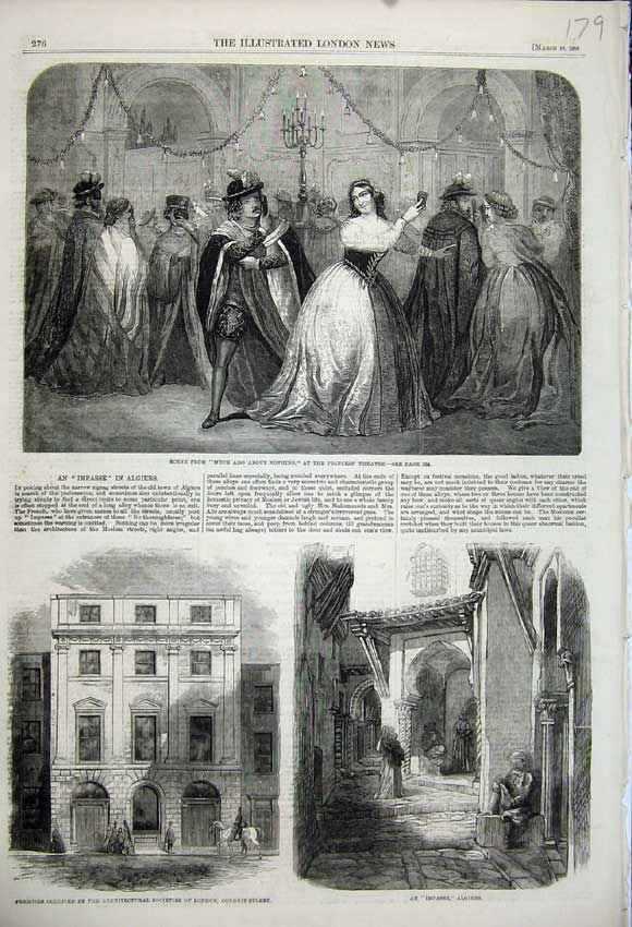 Print 1859 Much Ado Nothing Princess Theatre Algiers London 179N107 Old Original