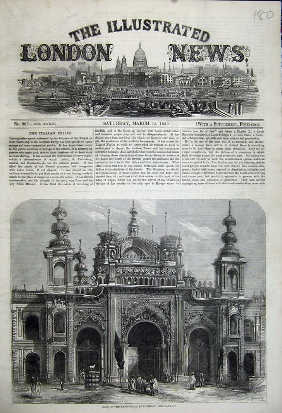 Print 1859 Gate Kaiserbagh Lucknow Palace People 180N107 Old Original