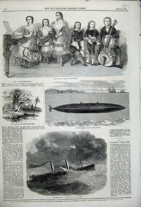 Print 1859 Broush Family Submarine Gouty-Stem Ship Resolute 181N107 Old Original