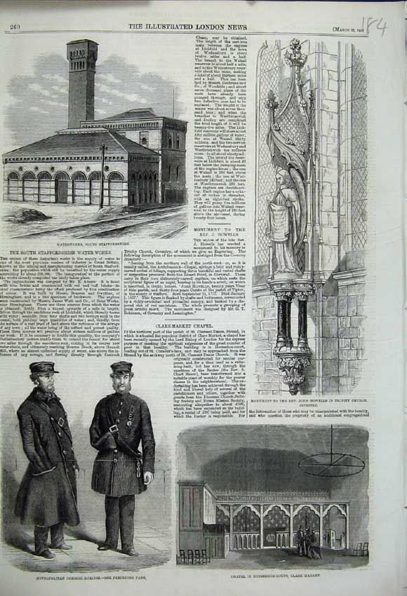 Print 1859 Waterworks Chapel Monument Howells Trinity Church 184N107 Old Original