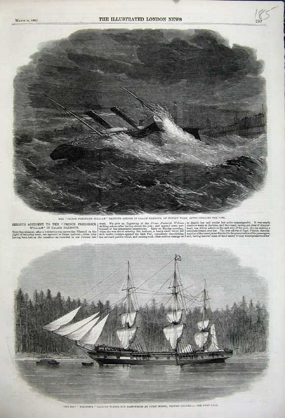 Print 1859 Ship Wacousta Columbia Prince William Calais Wreck 185N107 Old Original
