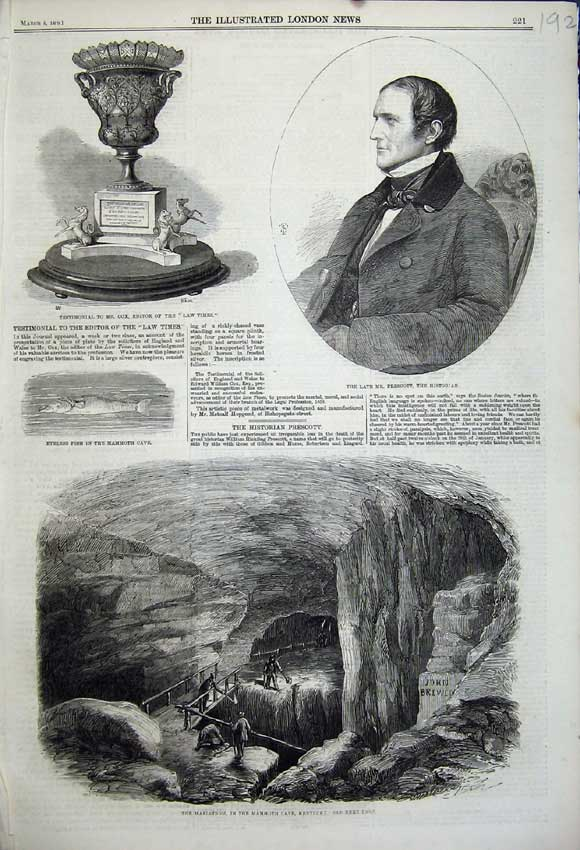 Print 1859 Mammoth Cave Kentucky Prescott Fish Testimonial 192N107 Old Original