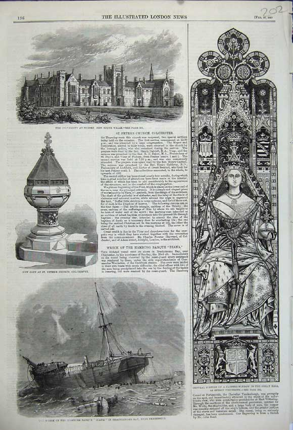 Print 1859 Ship Wreck Hamburg Diana University Sydney Window 202N107 Old Original