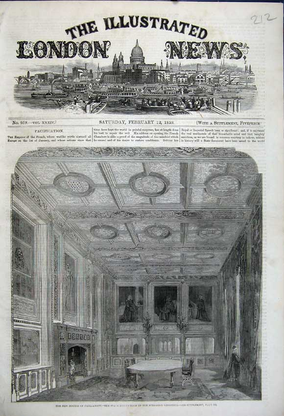 Print 1859 Houses Parliament Dining Room Speakers Residence 212N107 Old Original