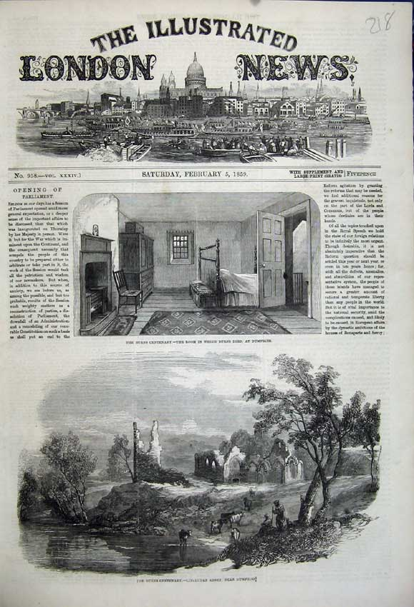 Print 1859 Burns Scotland Dumfires Lincluden Abbey Room Died 218N107 Old Original