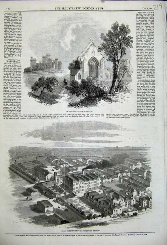 Print Protestant Church Cannes 1859 Spill'S Manufactory Water 219N107 Old Original