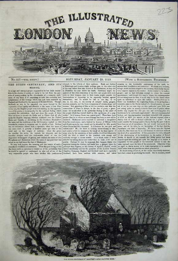 Print 1859 Burns Centenary Alloway'S Auld Haunted Kirk Church 223N107 Old Original