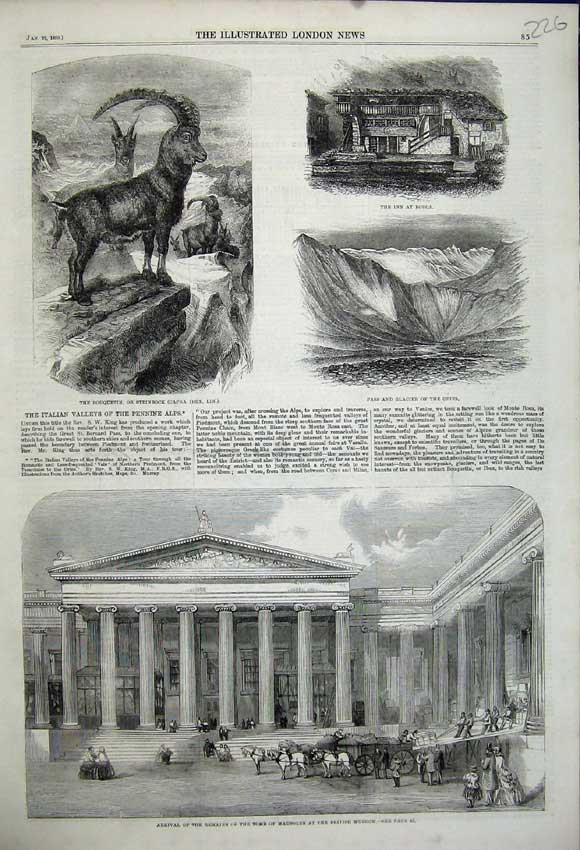 Print 1859 Remains Tomb Mausolus Museum Glacier Gries Borca 226N107 Old Original