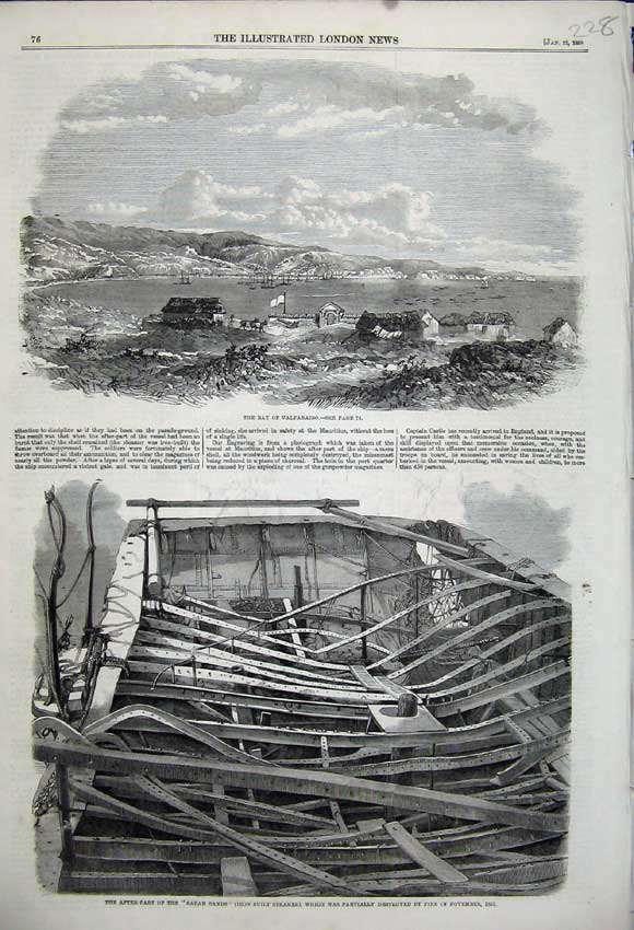Print Bay Valparaiso 1859 Sarah Sands Stemer Ship Remains 228N107 Old Original