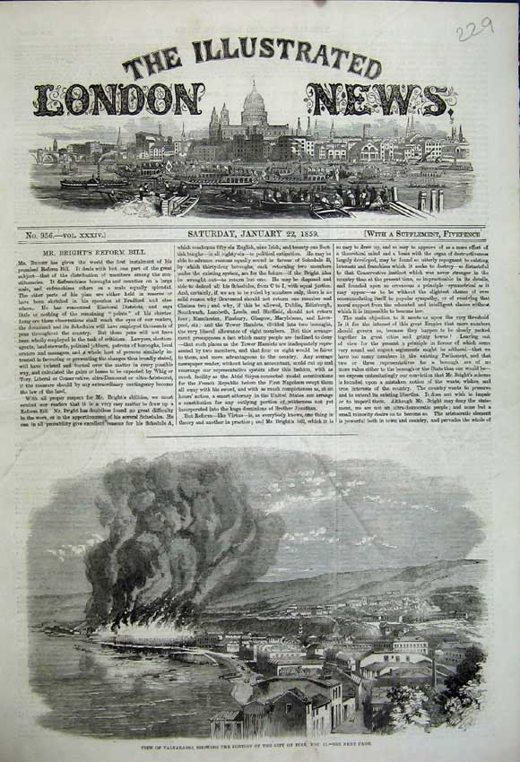 Print 1859 View Valparaiso City Fire Buildings Town Burning 229N107 Old Original