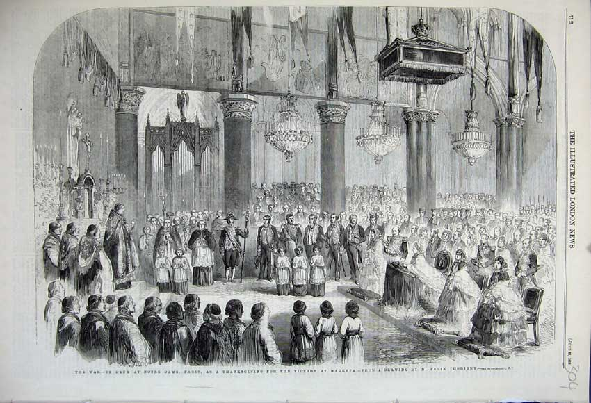 Print 1859 War Notre Dam Paris Church Service Victory Magenta 304N107 Old Original