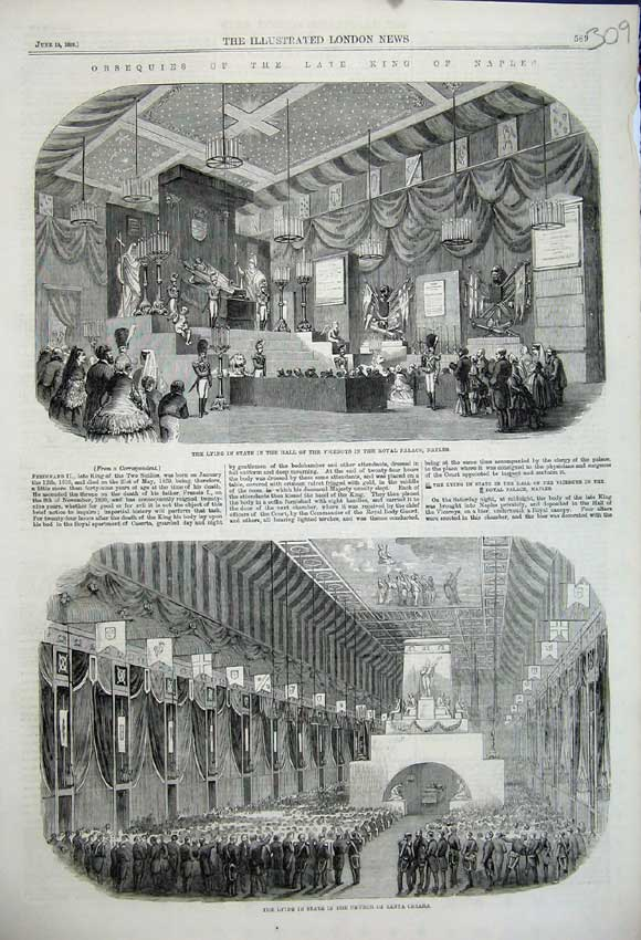 Print 1859 King Naples Viceroys Palace Naples Coffin Church 309N107 Old Original