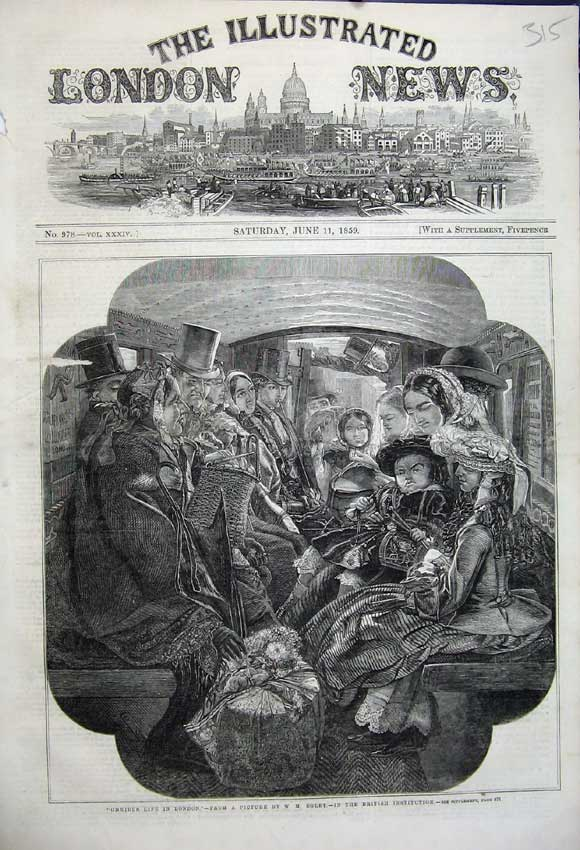 Print 1859 Omnibus Life London Family Transport Egley 315N107 Old Original