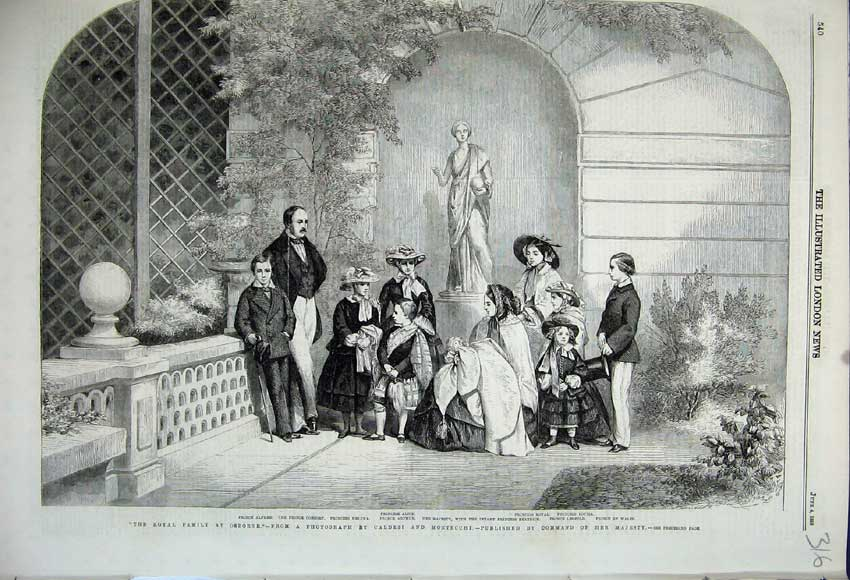 Print 1859 Royal Family Osborne Prince Alfred Alice Wales 316N107 Old Original
