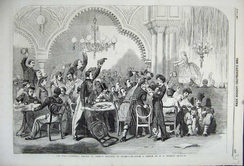 Print 1859 War Farewell Concert French Soldiers Marseilles 317N107 Old Original
