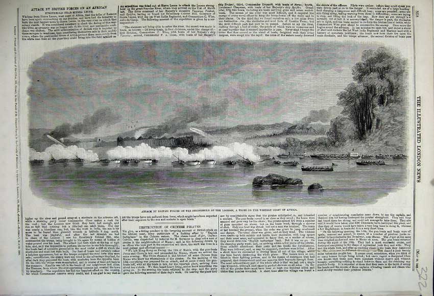 Print 1859 Attack British Forces Loosoos Tribe Western Africa 322N107 Old Original