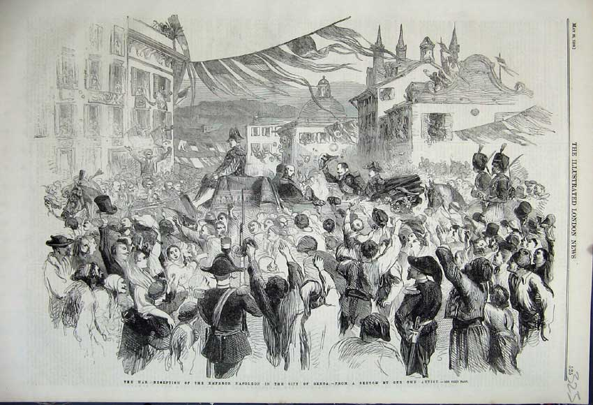 Print 1859 War Reception Emperor Napoleon City Genoa Spain 323N107 Old Original