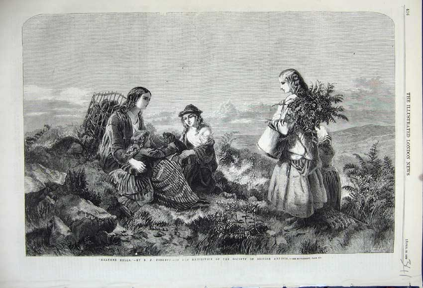 Print 1859 Heather Bells Girls Gathering Hill-Side Baskets 341N107 Old Original