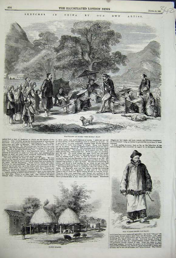 Print 1859 China Travelling Paddy Stacks Village Can-Haou Man 342N107 Old Original