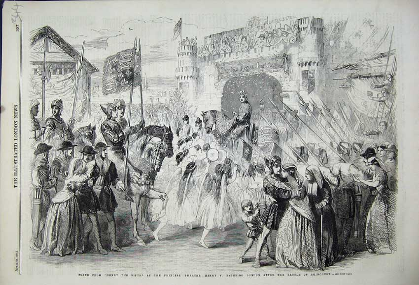 Print 1859 Henry Fifth Princess Theatre Battle Agincourt 344N107 Old Original