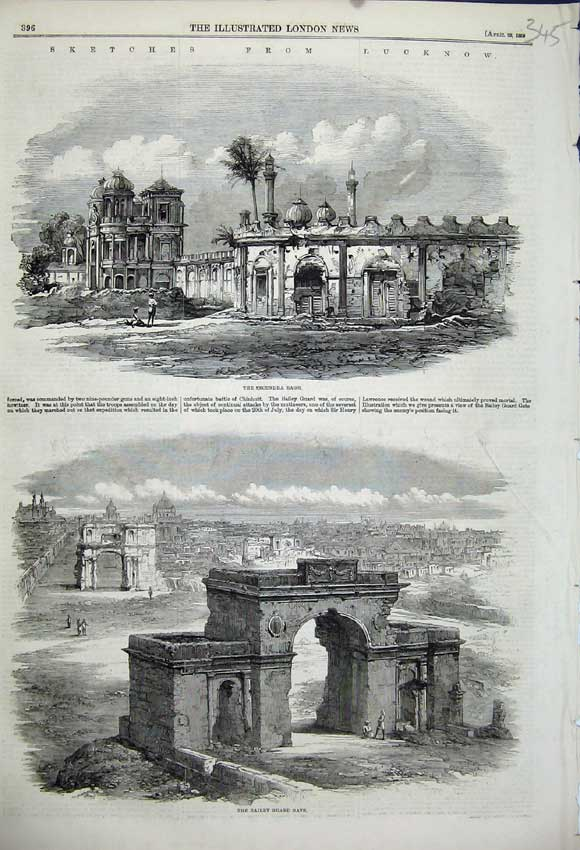 Print 1859 Lucknow Secundra Bagh Bailey Guard Gate Buildings 345N107 Old Original