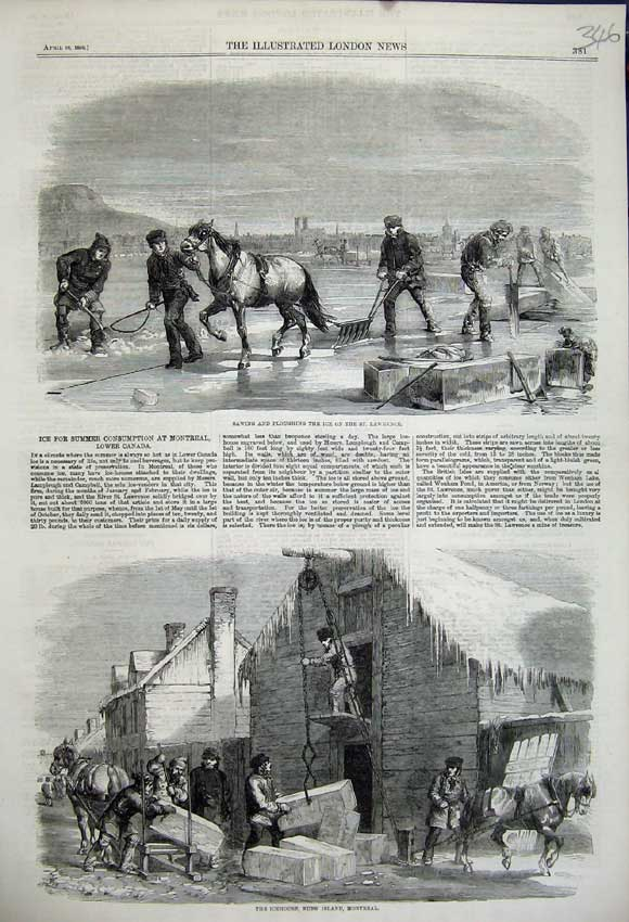 Print 1859 Sawing Ploughing Ice Lawrence Icehouse Nuns Island 346N107 Old Original