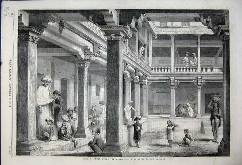 Print 1859 Hindoo School Portico House Poonah Children 351N107 Old Original