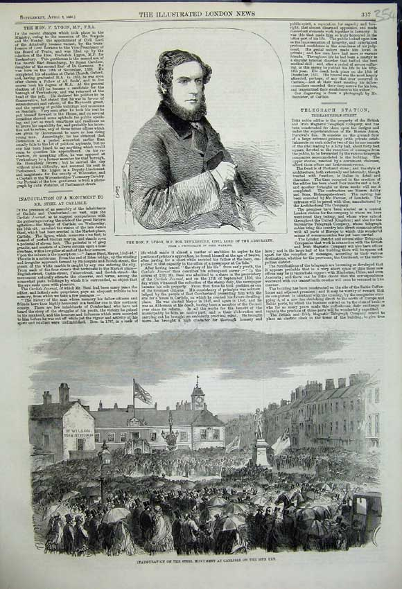 Print Lygon Civil Lord 1859 Steel Monument Carlisle Scotland 354N107 Old Original