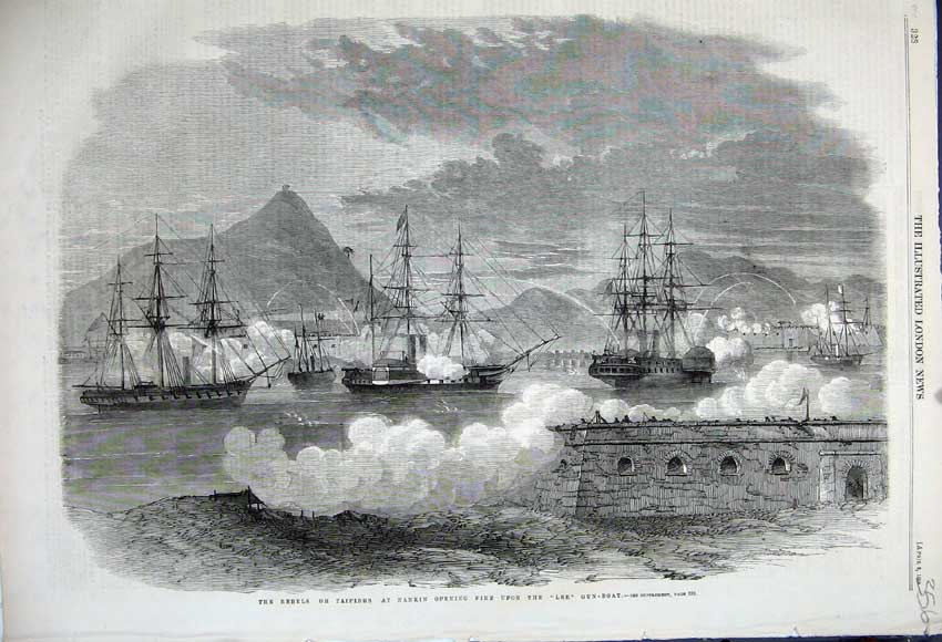 Print 1859 Rebels Nankin Firing Lee Gun-Boat War Sailing Ship 356N107 Old Original
