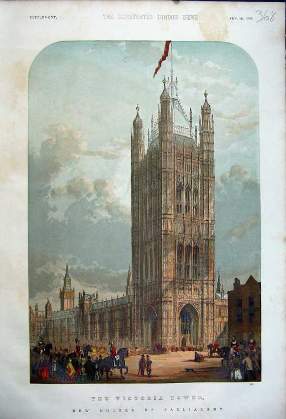 Print 1859 Victoria Tower New Houses Parliamnet London Colour 368N107 Old Original
