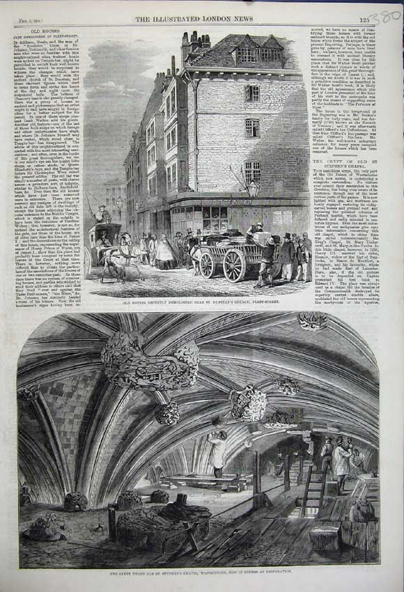 Print 1859 Crypt Stephens Chapel Westminster House Fleet 380N107 Old Original