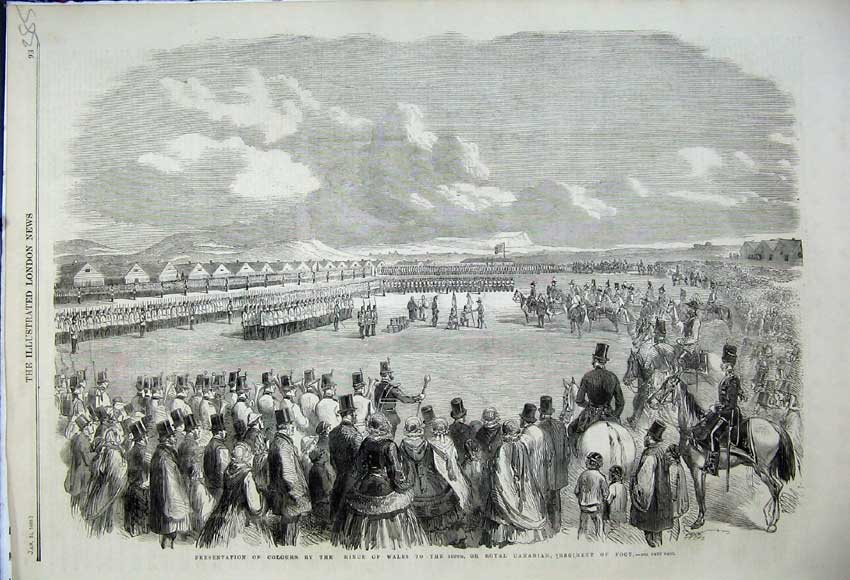 Print 1859 Prince Wales Canadian Regiment Presentation Colour 385N107 Old Original