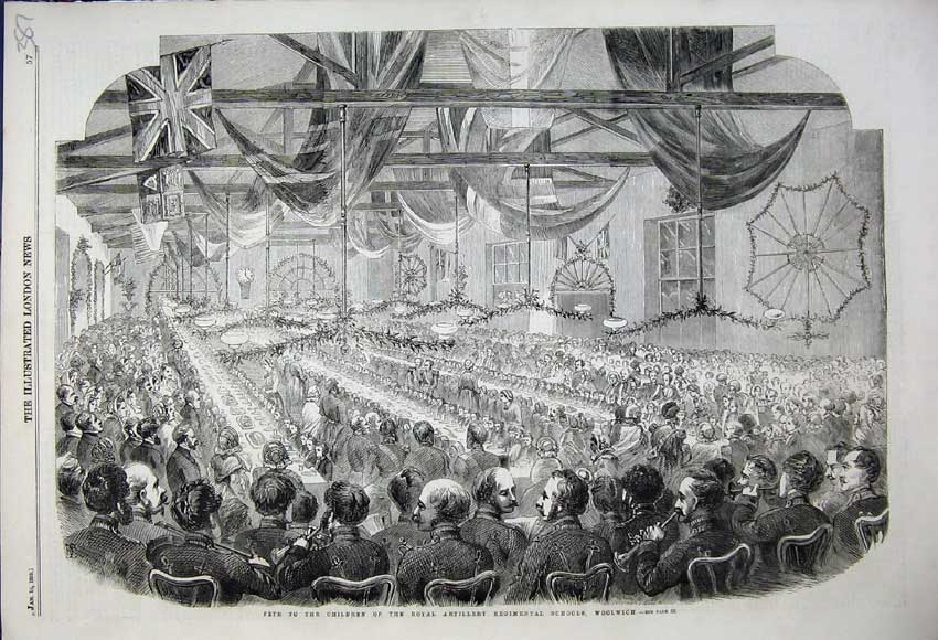 Print Fete Children Royal Artillery Regimental Schools 1859 387N107 Old Original